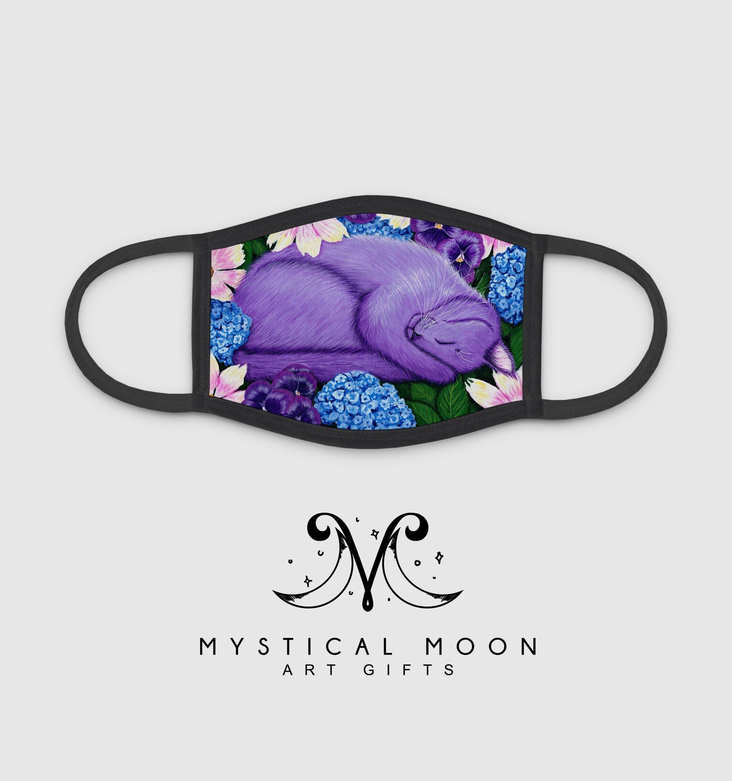 Sleeping Cat Mousepad  Cat Mousepad  Carrie Hawks  TIgerpixie  Purple Cat Mousepad  Purple Flowers Mousepad